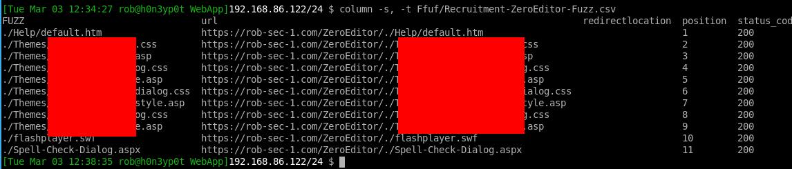 Ffuf columnds with Custom List